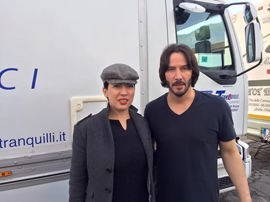 "Outside restaurant ""La Rosetta"" to Rome On the set ""John Wick 2 "" with Keanu …                     ..."