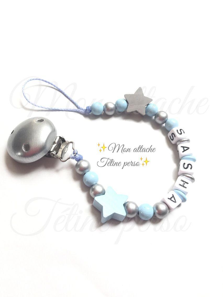 Attache t tine personnalis e perles en bois mod le toiles sasha - Perle en bois pour attache tetine ...