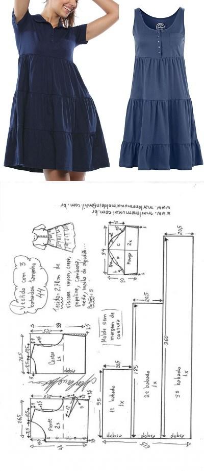 Vestido 3 babados aberto na frente | DIY - molde, corte e costura - Marlene Muka.iEsquema de modelagem de vestido com 3 babados, aberto na frente e manga curta do 36 ao 56.