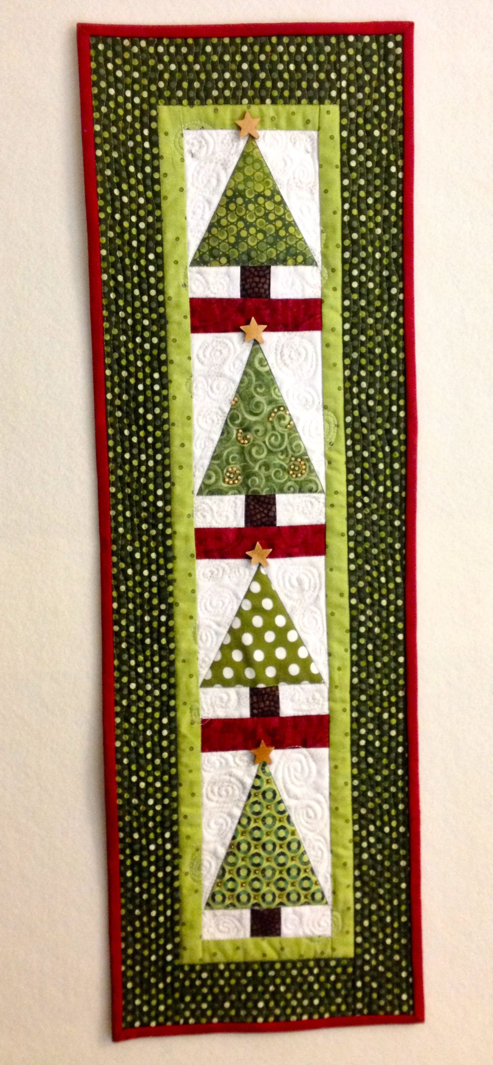Smaller vertical version Christmas Tree Wall Hanging. Two trees ...