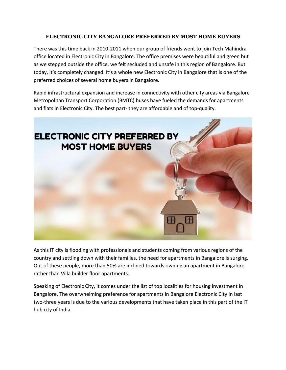 ELECTRONIC CITY BANGALORE PREFERRED BY MOST HOME BUYERS