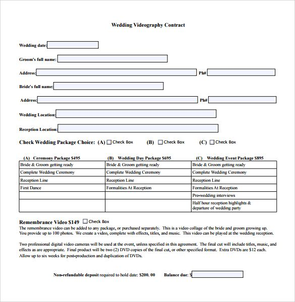 Vendor Templates For Wedding Planners Videography Contract Template