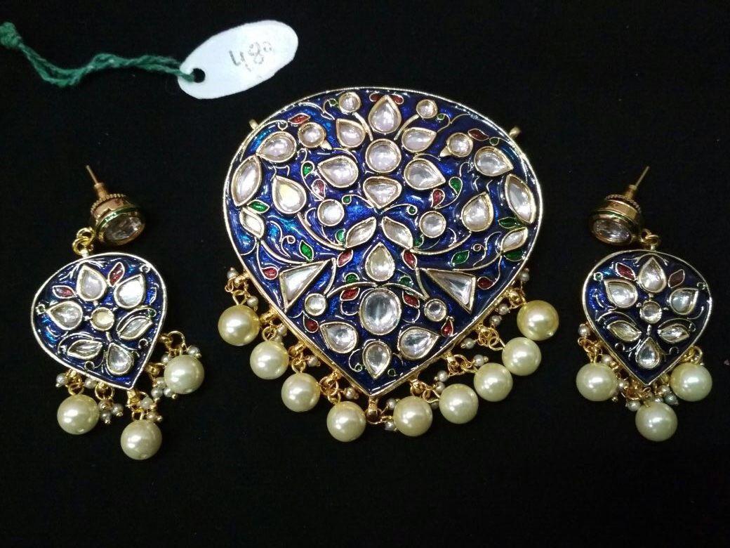 Pin by abhigyan verma on meenakari kundan pendant set blue green red