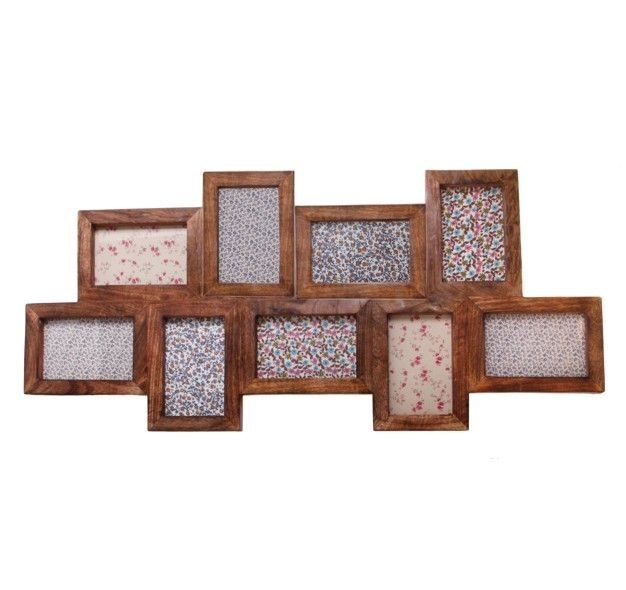 from sass belle this dark brown stained wooden photo frame takes nine photos all measuring 9 x x inch and has two landscape wall mounting attachments
