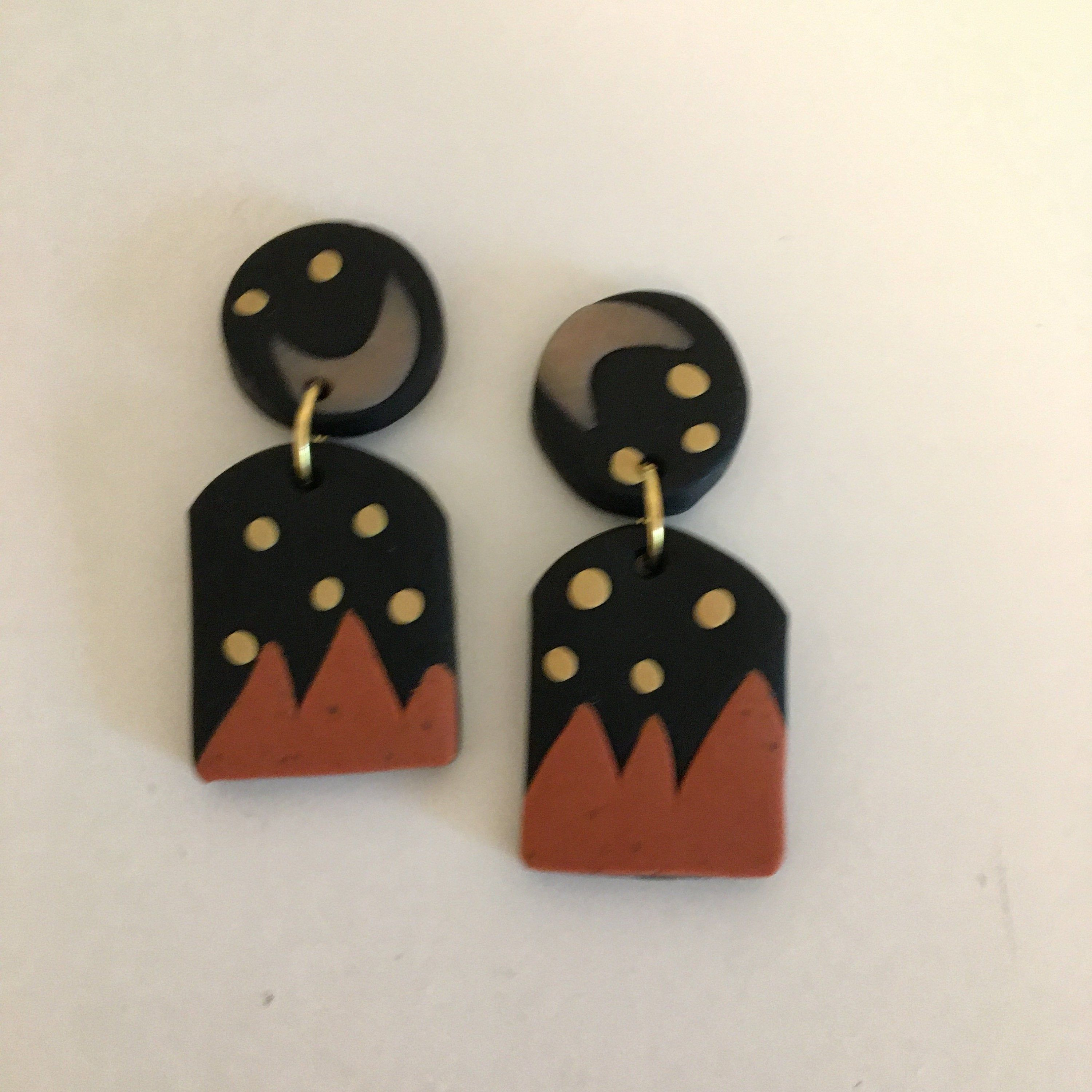 Pumpkin Patch Handmade Polymer Clay Earrings Unique Trendy