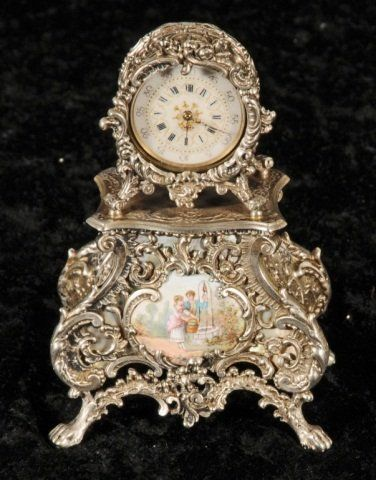 VIENNESE ENAMEL AND 800 SILVER MINIATURE CLOCK.