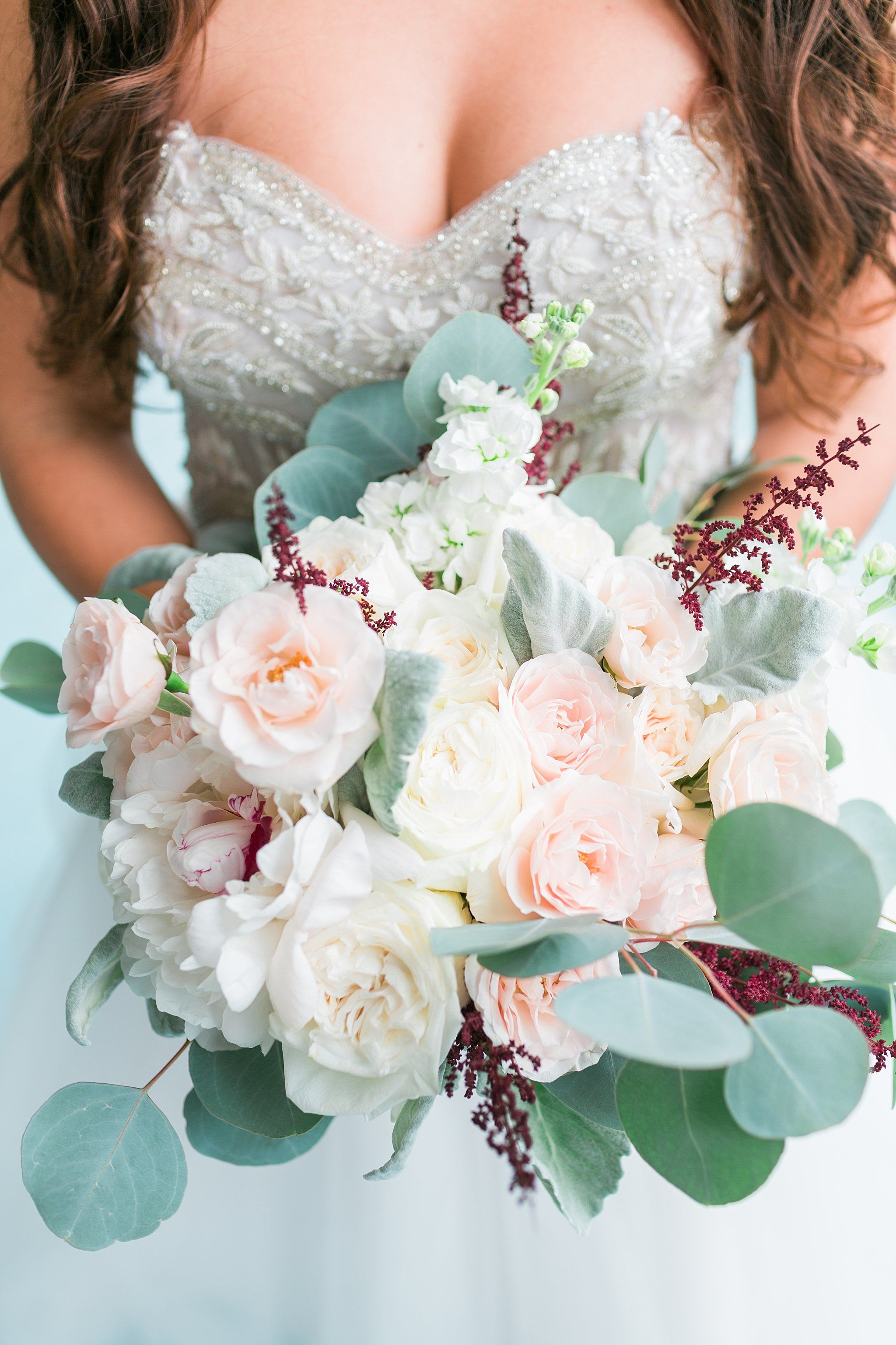 Spring wedding bouquet idea blush greenery bouquet with roses spring wedding bouquet idea blush greenery bouquet with roses peonies and eucalyptus photo by the lees photography mightylinksfo