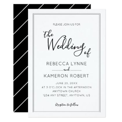 Black And White Simple Elegant Wedding Invitation Zazzle Com Simple Elegant Wedding Elegant Wedding Invitations Elegant Wedding