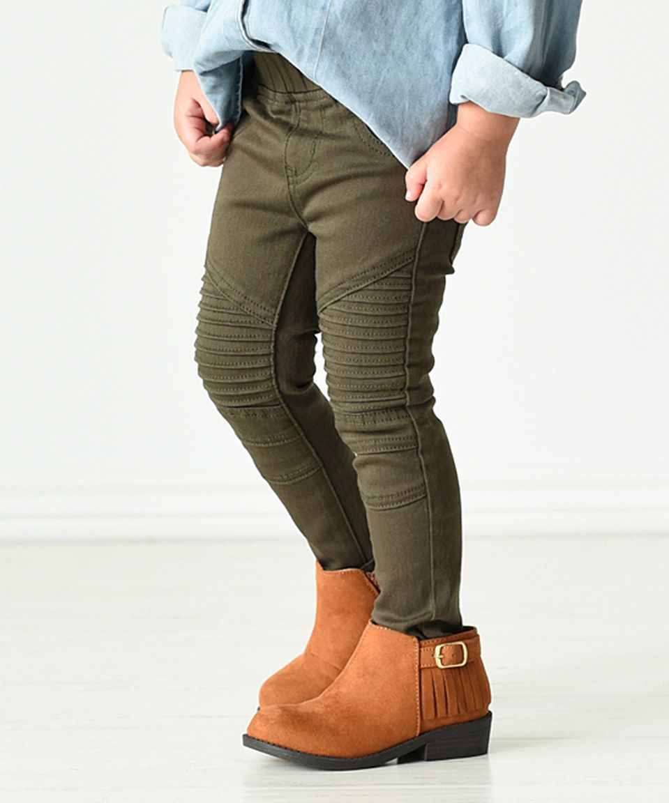 dbd5f113d4130 Another great find on #zulily! Olive Denim Moto Leggings - Infant, Toddler  & Girls by PeekABootSocks #zulilyfinds