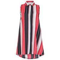 Blue Vanilla Striped Swing Shirt Dress, Multi-Coloured