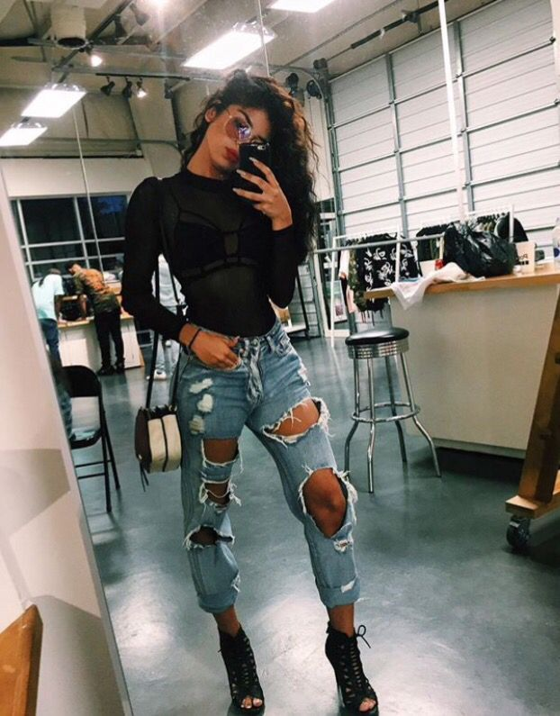 Outfits With Heels Part 1 Cute Winter Outfits Ripped Jeans