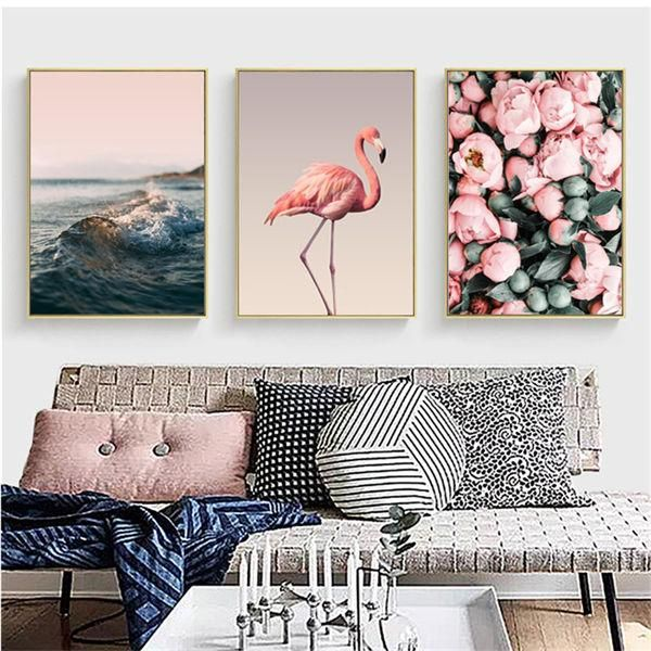 Photo of Flamingo Flower Nordic Canvas Painting Seascape Wall Art Print Picture For Living Room Bedroom Home Decor Painting No Frame – 60x80cm no frame / ABC