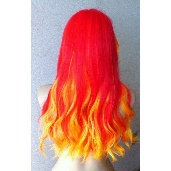 HOLIDAY SALE Fire Phenix wig. Red Yellow Ombre colored wig. Long wavy... ($98) ❤ liked on Polyvore featuring hair