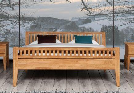 Bett Kahle Eiche mit Fußteil und Bettkastenoption - Massivholzbetten - schlafzimmer betten günstig