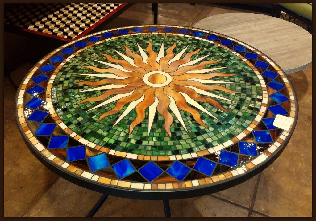 Tile And Glass Mosaic Tables Mosaic Tile Table Mosaic Patio
