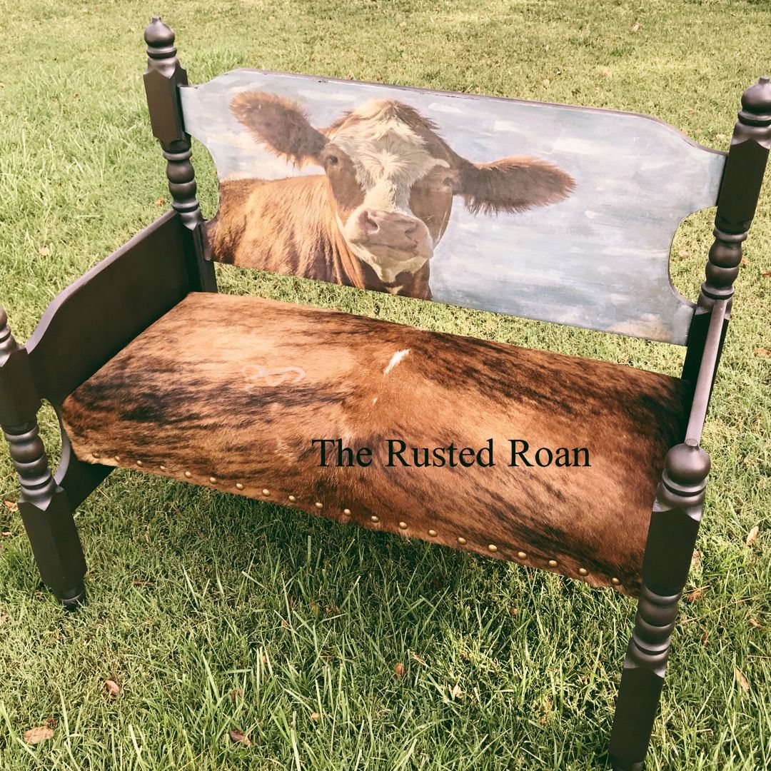 Cowhide Furniture, Cow Entryway Bench, Farmhouse Bench