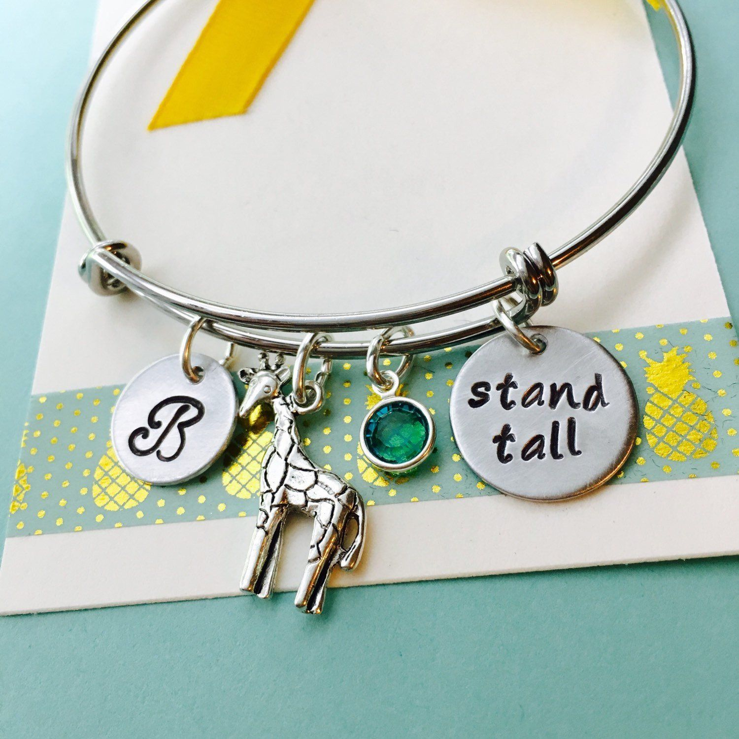 Giraffe Bracelet Jewelry Stand Tall Be Diffe Adjule Charm Personalized Initial