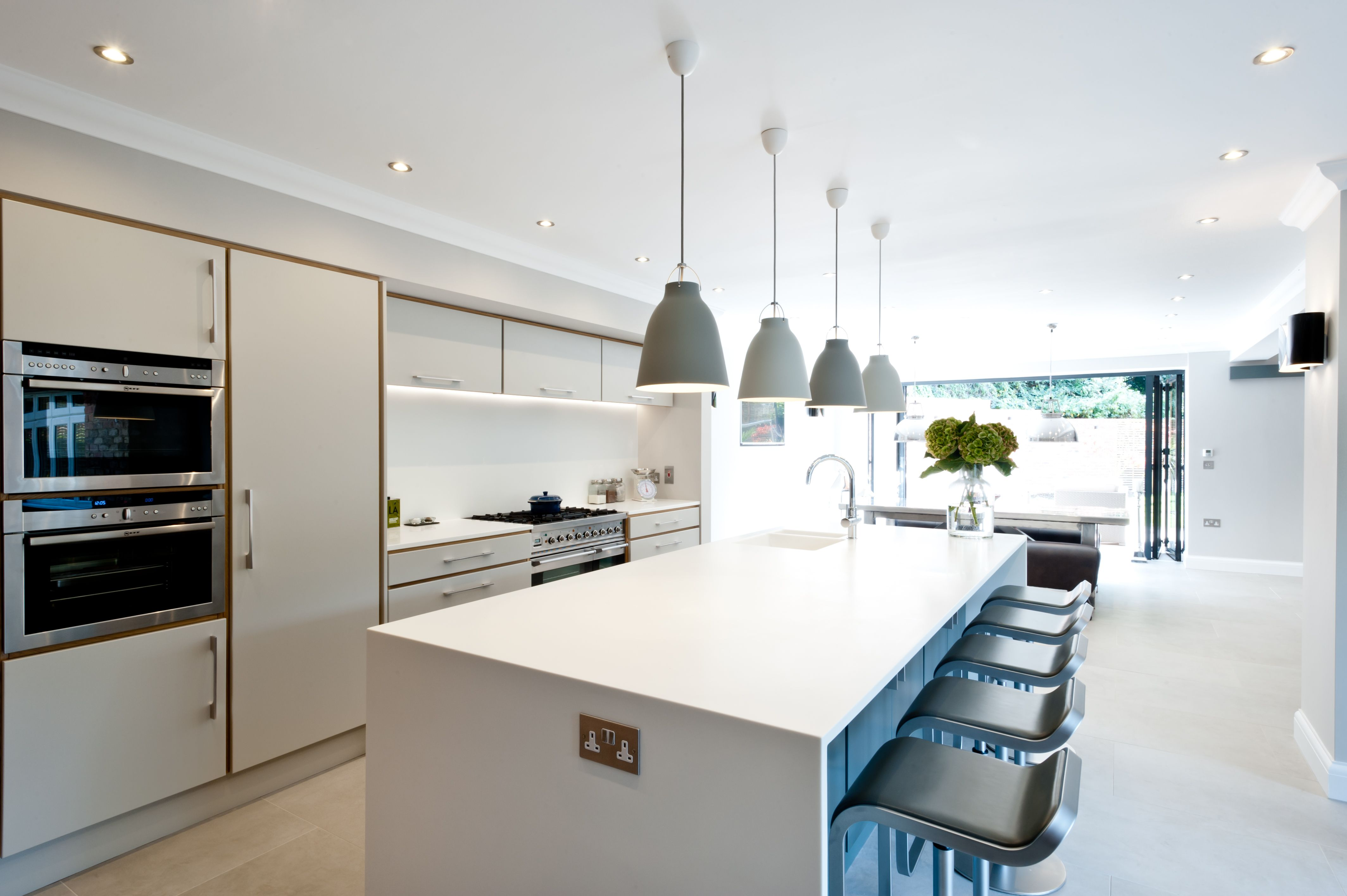 Fantastic open space with contemporary blue island and