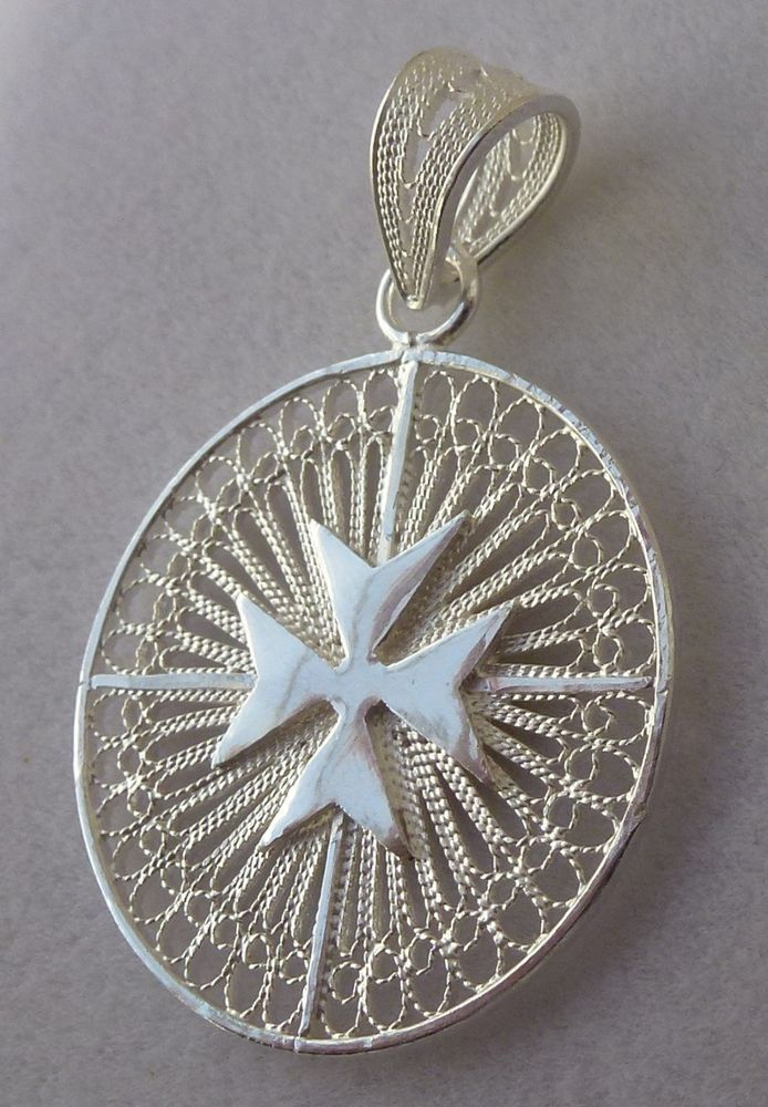 Details about Sterling Silver Maltese Cross Filigree