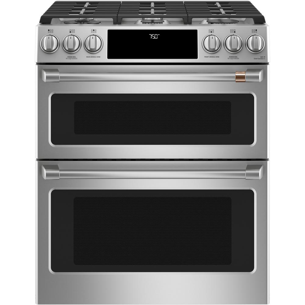 Cafe 30 In 7 0 Cu Ft Smart Slide In Double Oven Gas Range With Self Cleaning And Lower Convection Oven In Stainless Steel Cgs750p2ms1 The Home Depot Gas Range Double Oven Double Convection Oven