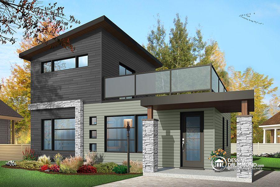 Détail du plan de Maison unifamiliale W1703 Cabin Pinterest - plan maison avec tour carree