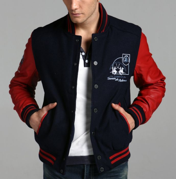 Navy Red Colorblock Baseball Jacket Men $149.00 | jackets ...