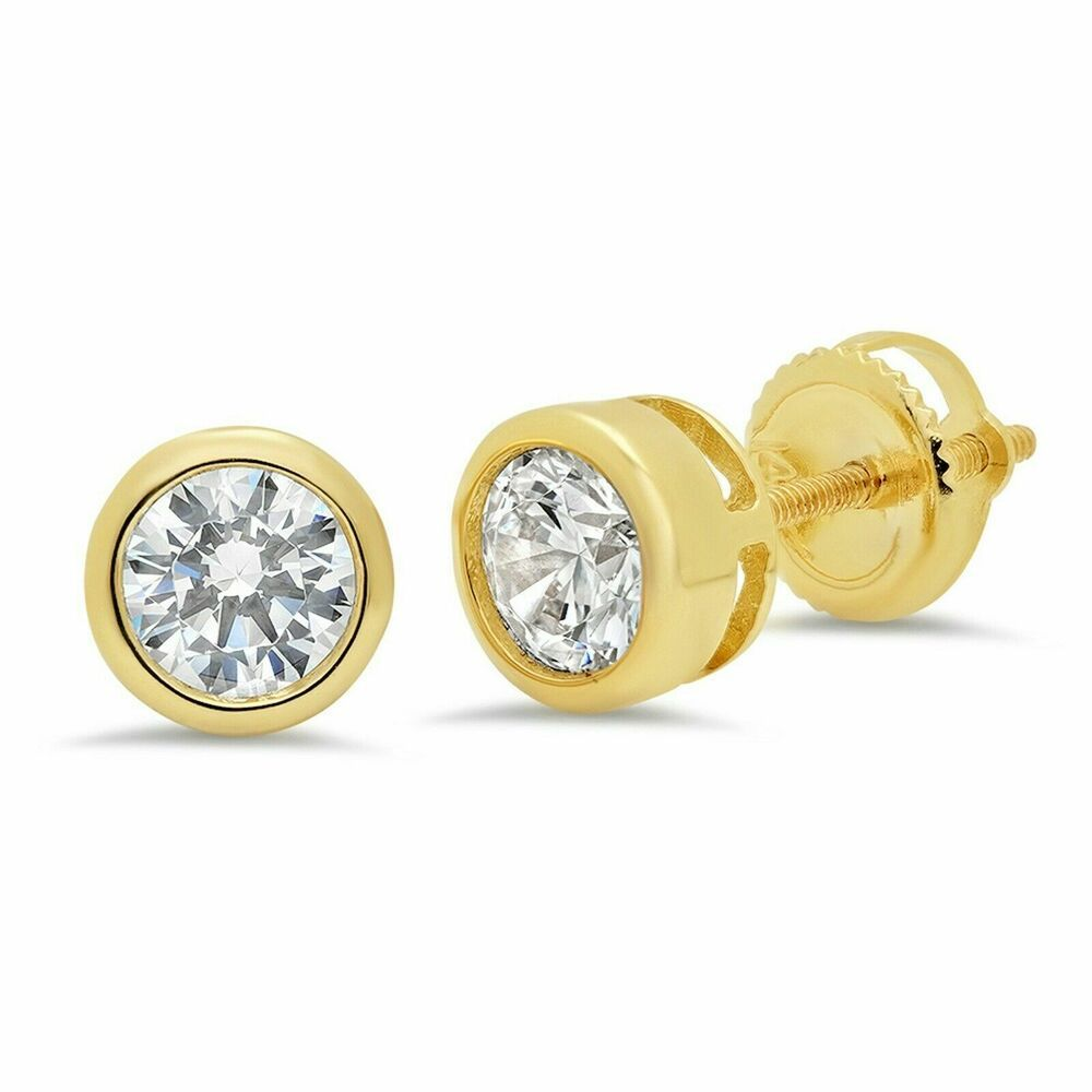1.0 ct Simulated Diamond Solitaire Bezel Set Stud Earrings Round Cut 14k Yellow Gold Screw Back Wedding Earring Earring Wedding Gold Stud