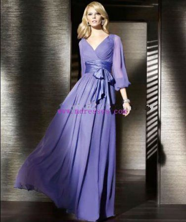 Purple Long Sleeve Evening Dresses Prom Formal Gowns P001 ...