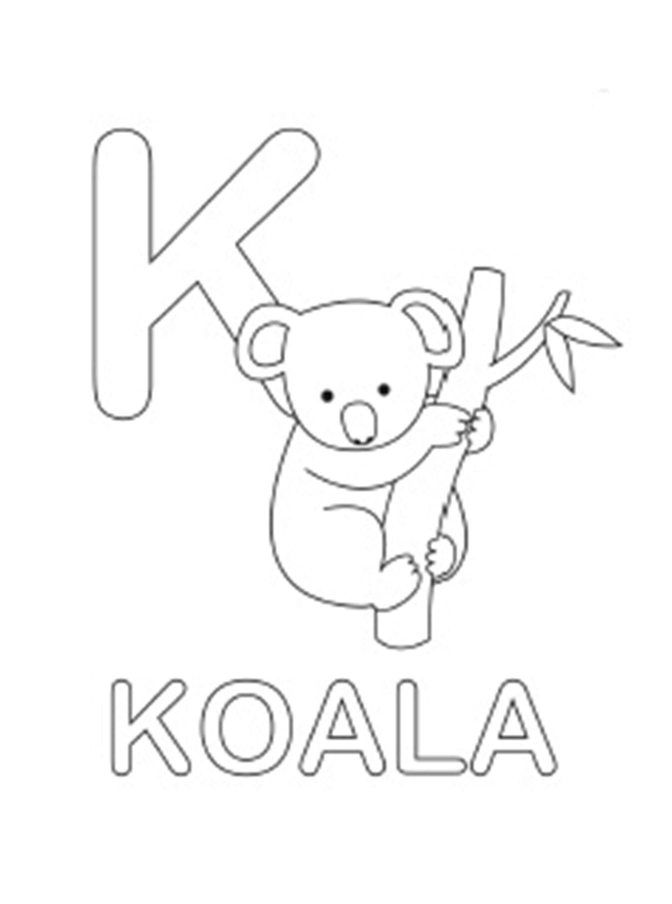 Koala Alphabet Coloring Pages Free