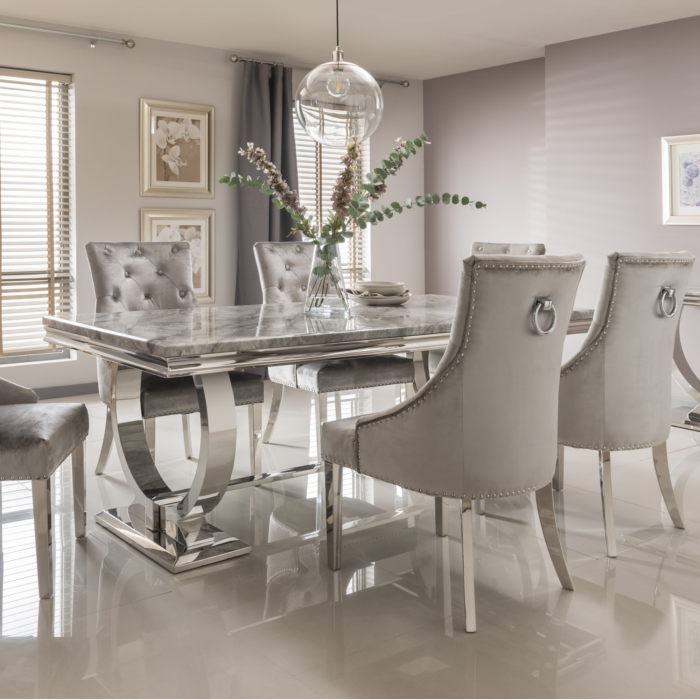 Arianna Rectangle Marble Dining Table 200cm Grey Dining Room Table Marble Grey Dining Tables Luxury Dining Tables