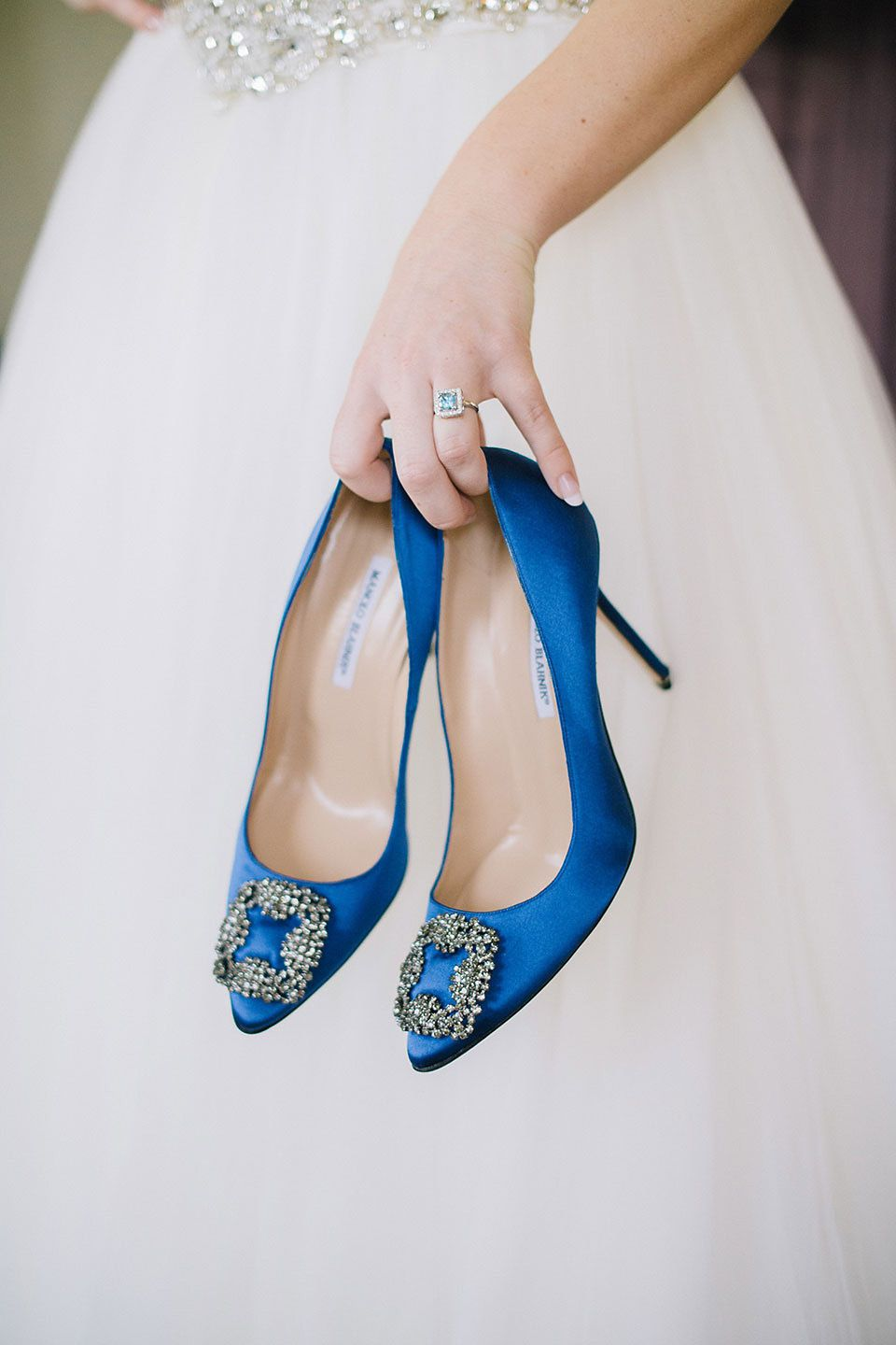 Blue shoes and a maggie sottero gown for a rustic inspired country