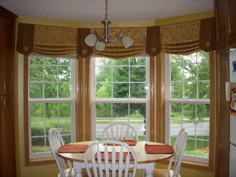 - Ideas of window treatments for bay windows in dining room ...