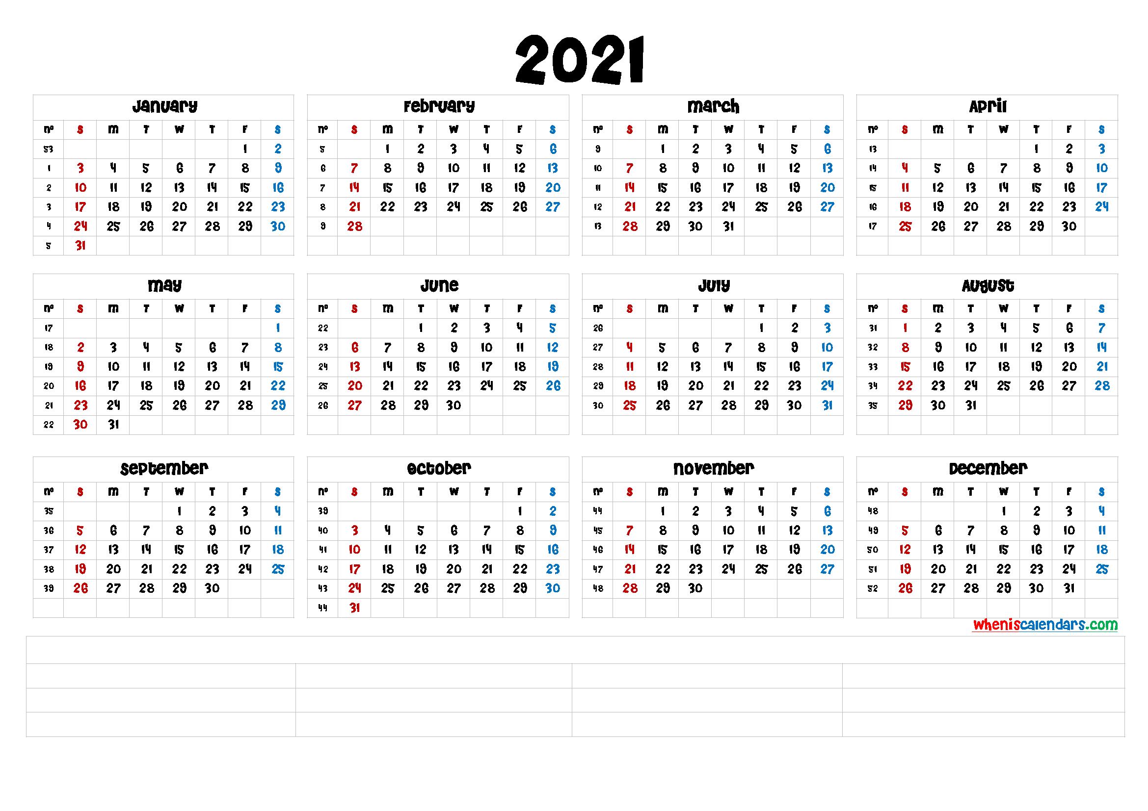 Free Printable 2021 Calendar by Year [Premium Templates
