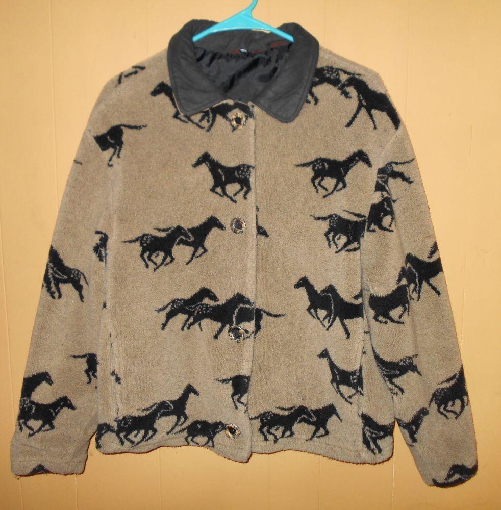 Details about vintage fleece southwestern horse jacket size xl