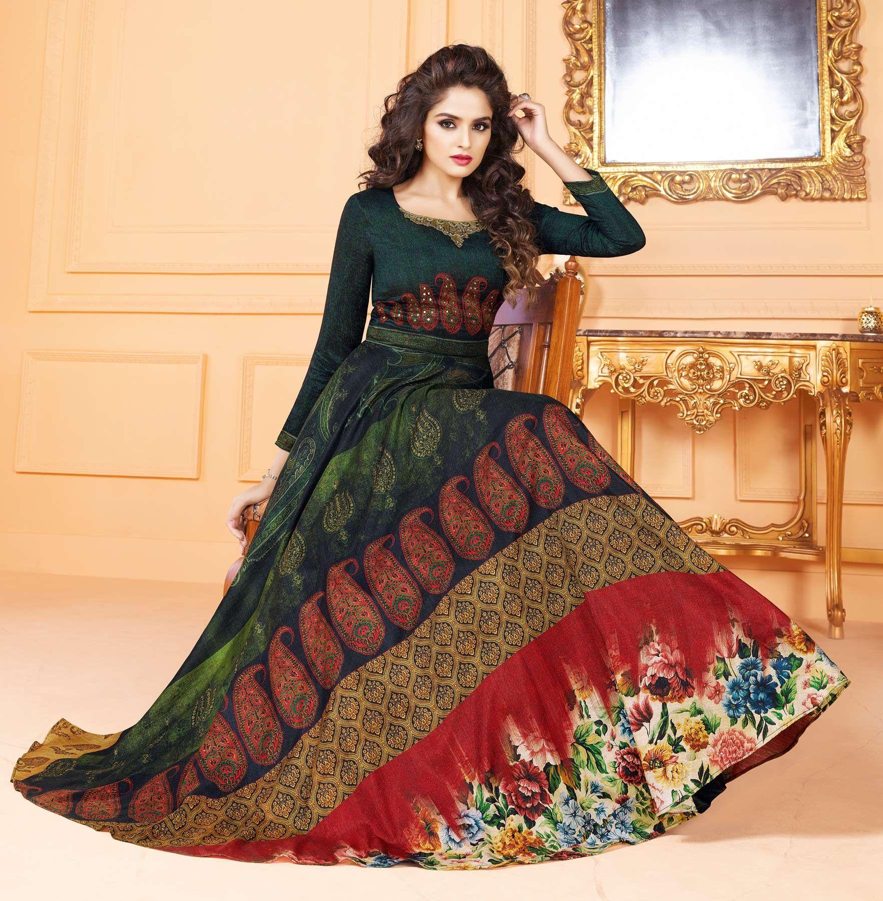 10b6cbbf42 Stunning Dark Green Colored Partywear Digital Printed Tussar Art Silk Gown