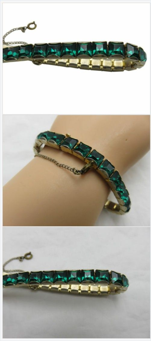 What a sweet day to day addition to your wardrobe; an emerald green crystal bracelet. Easily goes from day to evening. #VintageCostumeJewelry https://www.ebay.com/itm/192403579166