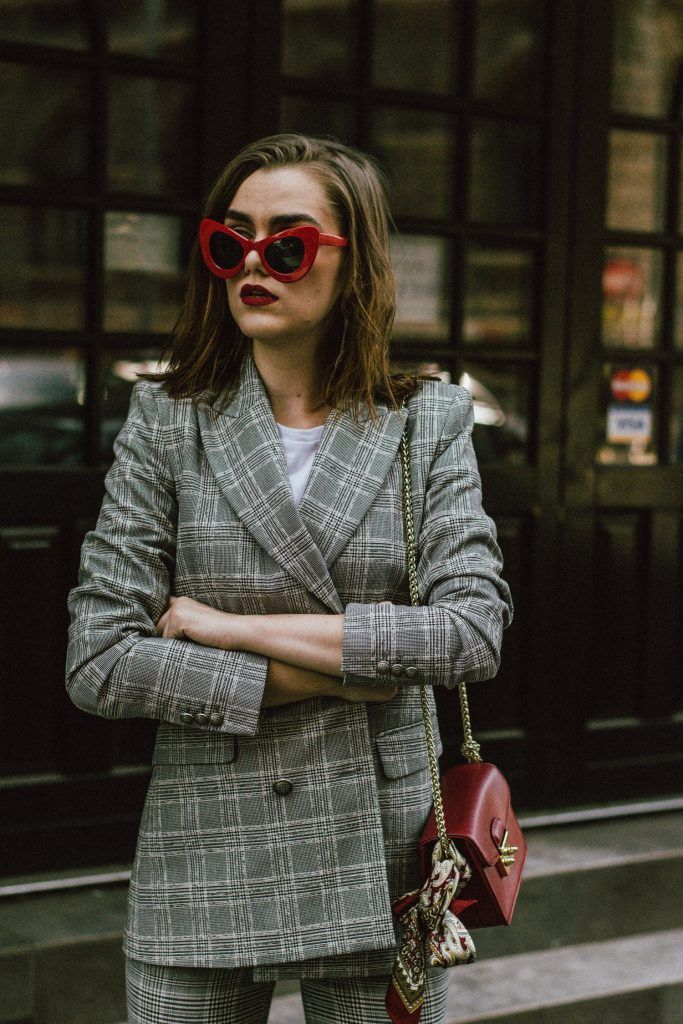 aa4998f2 Zara check printed suit, mango check printed blazer,topshop checked flared  trousers, checked suit, cropped trousers, gucci white ace heart embroidered  ...
