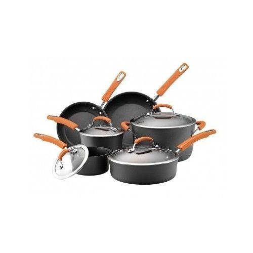 Cookware Set  Non-stick 10-Piece Black Pans Rachel Ray Kitchen