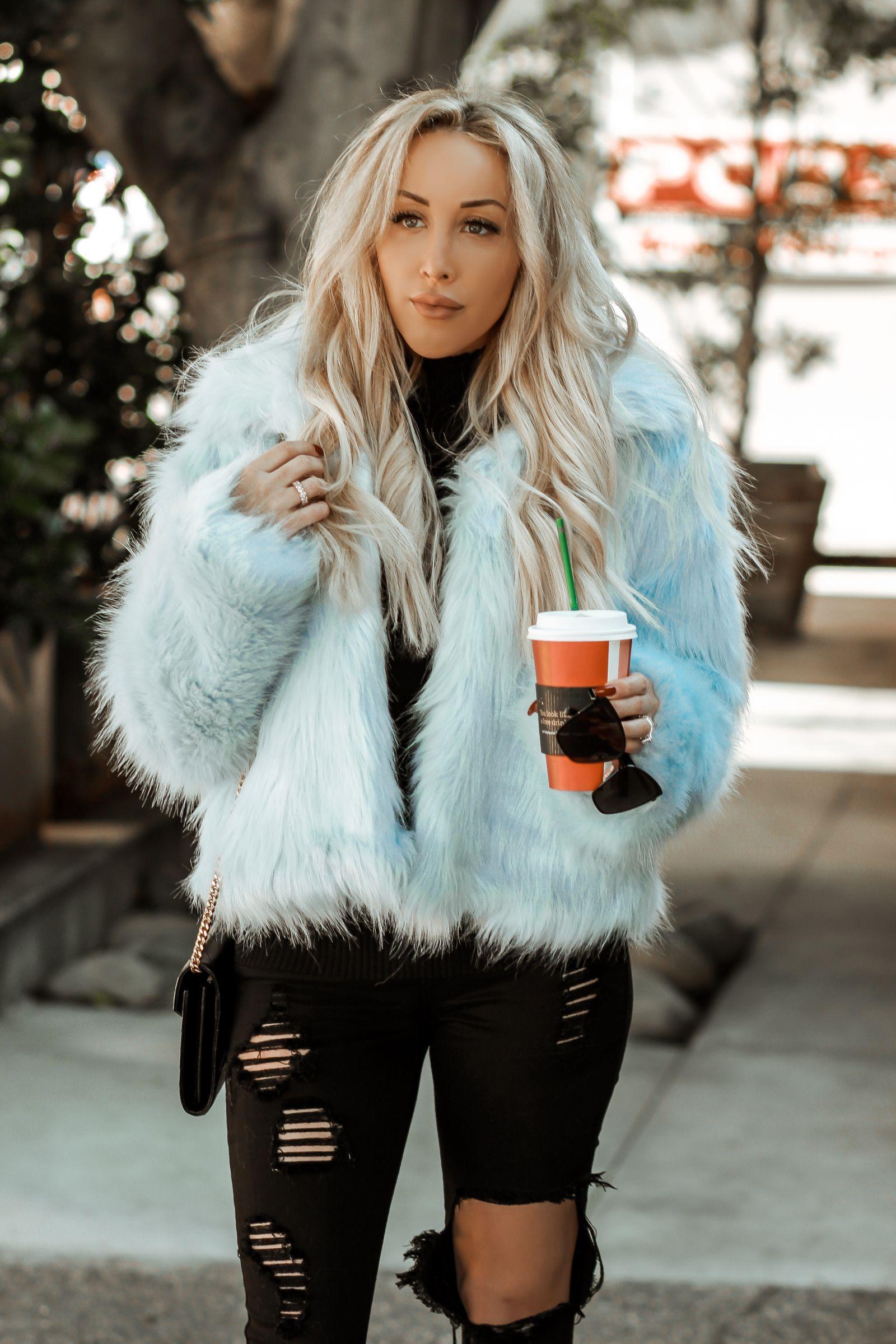Baby Blue Faux Fur Blue Fur Jacket Blue Fur Coat Faux Fur Jacket Outfit