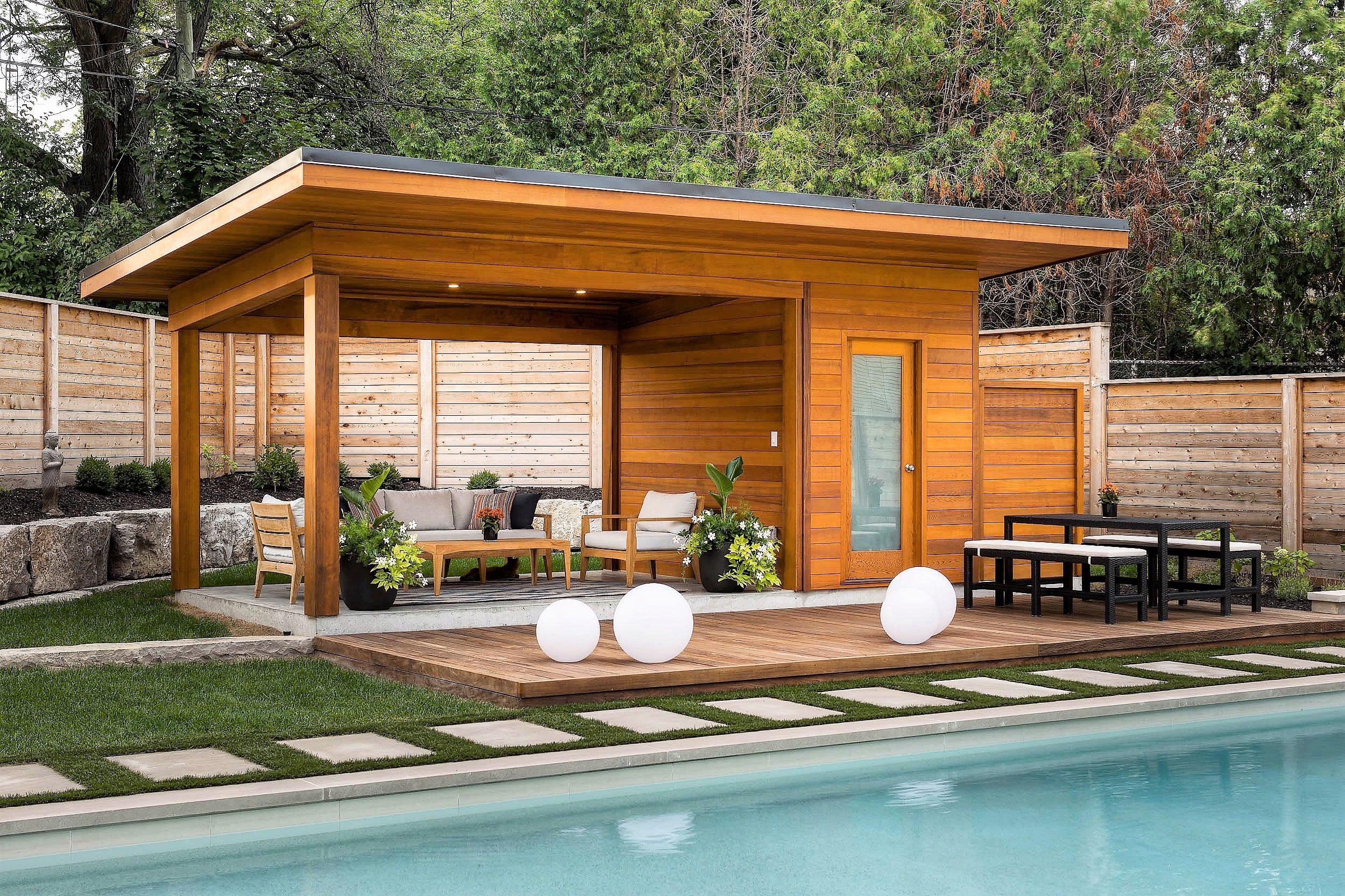 Custom 10 X 20 Sanara Pool Cabana With Overhang In Toronto