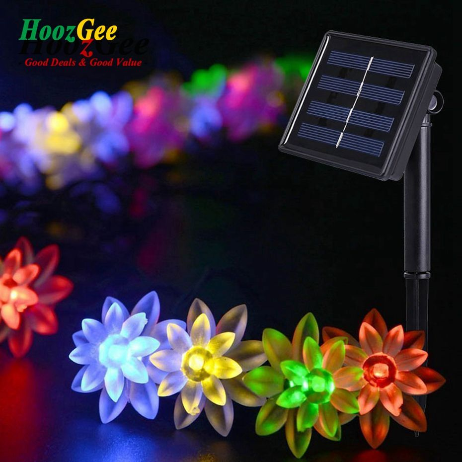 Hoozgee Solar String Lights Outdoor Fairy Lamp 50 Led Lotus Flower