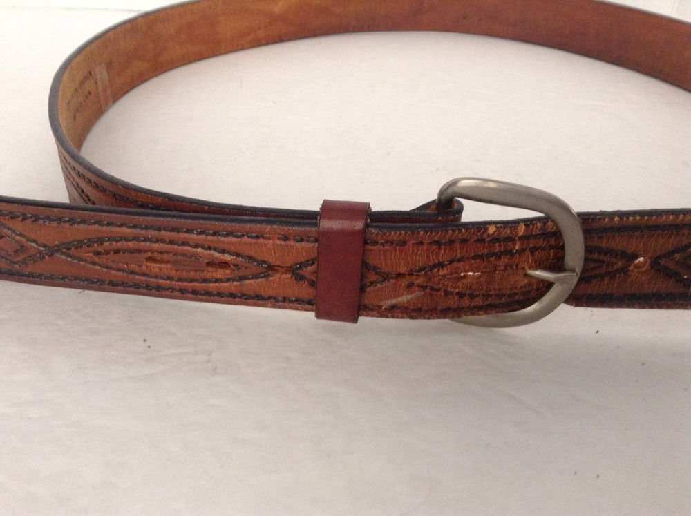 Men's Western Style Design Brown Top Grain Leather Belt Size 42 #UnknownWesternStyle