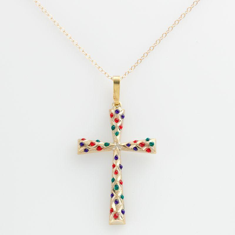 14k Gold-Bonded Sterling Silver Beaded Cross Pendant, Women's, Yellow