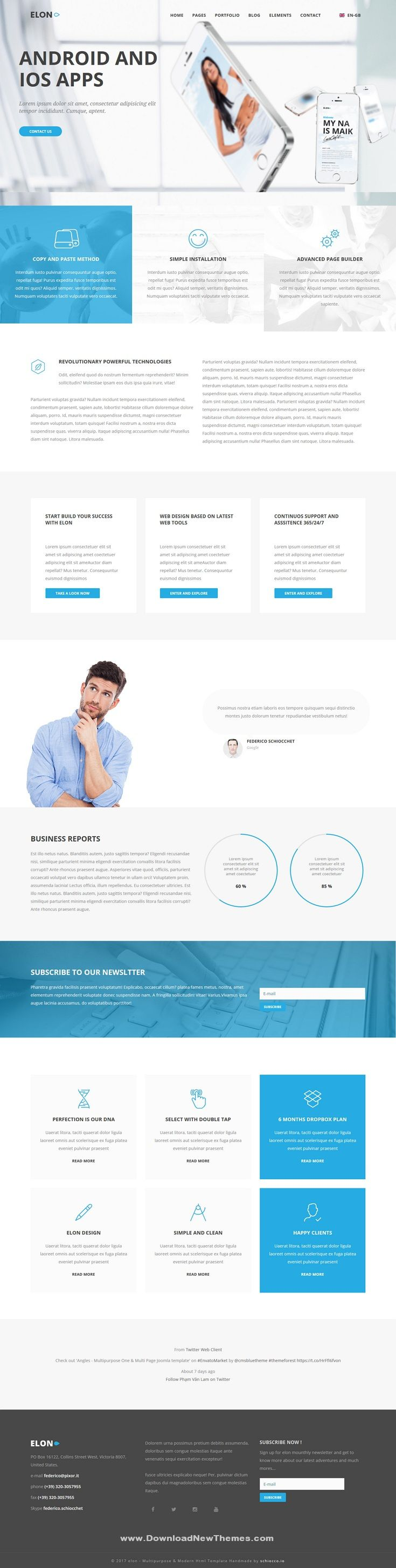 elon is a clean and modern design responsive joomla templates for