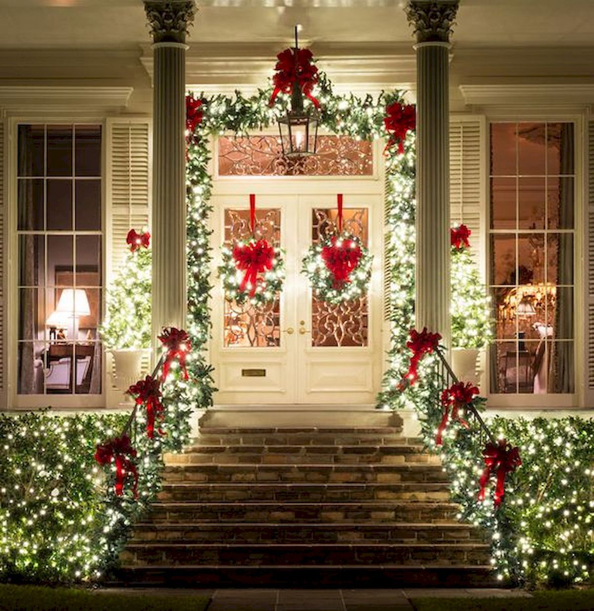 Home Design Ideas For Christmas: 50 Stunning Front Porch Christmas Lights Decorations Ideas