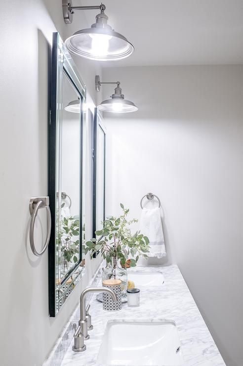Classic Gray Bathroom Featuring Benjamin Moore Classic Gray Walls Designed By Scout N Classic Grey Bathrooms Gray Bathroom Decor Benjamin Moore Classic Gray