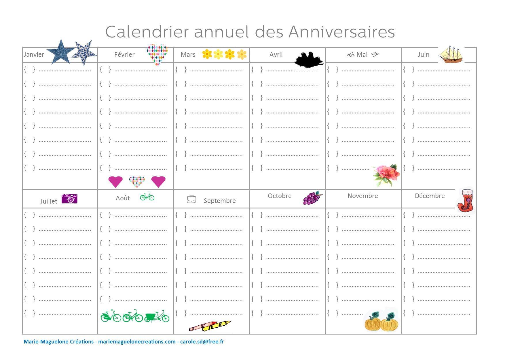 calendrier annuel des anniversaires calendrier pinterest calendrier annuel calendrier et. Black Bedroom Furniture Sets. Home Design Ideas