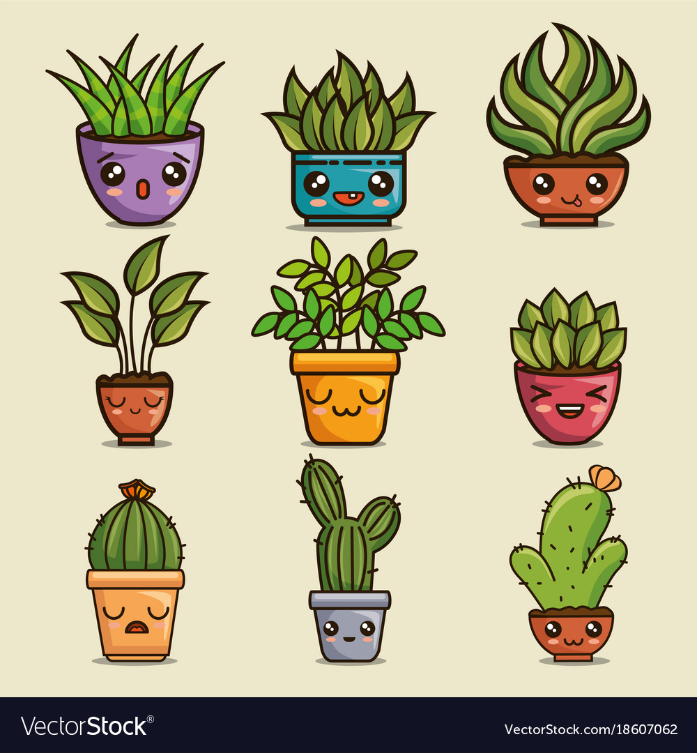 Cute lovely kawaii house plants cartoons vector image on VectorStock