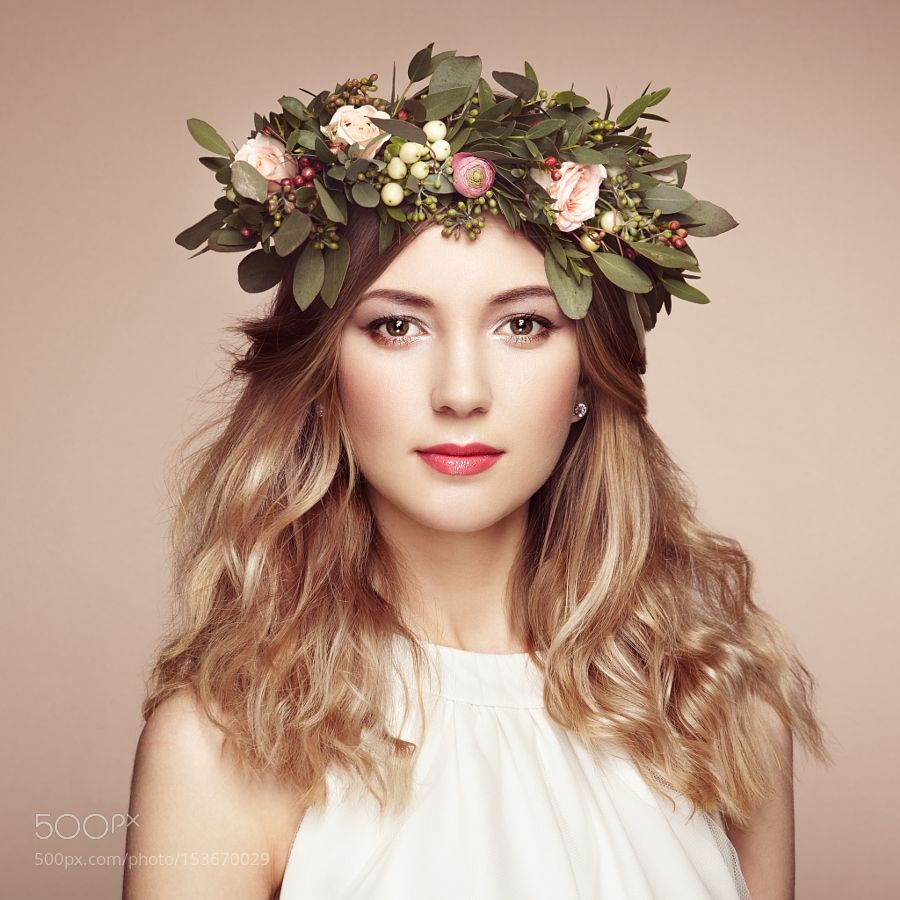 Beautiful blonde woman with flower wreath on her head by beautiful blonde woman with flower wreath on her head by heckmannoleg izmirmasajfo