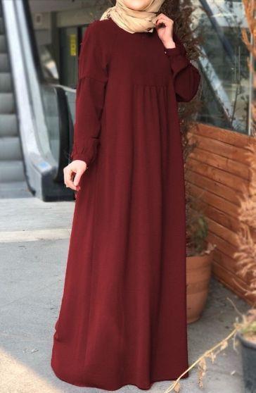 Robali Klasik Elbise Bordo Tesettur Tukenenler Suhneva Klasik Elbiseler Elbise Maksi Elbiseler